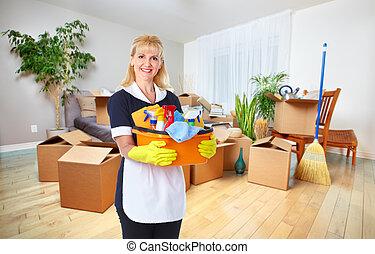 criada, mujer, tools., limpieza