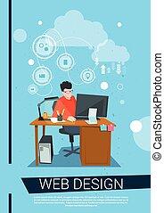 criador de páginas para a web, negócio, trabalho, computador desktop, local trabalho, homem