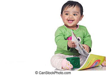 criança, 6-8, mês