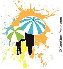 criança, adulto, guarda-chuvas, sob