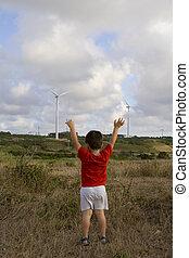 criança, amando, ecologia, -, competição