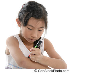 criança asiática, escrita, algo, ligado, dela, braço, ligado, white.