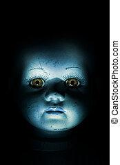 criança, assombrar, boneca, rosto