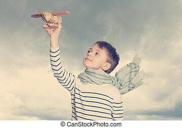 criança, brinquedo, despreocupado, avião, ao ar livre