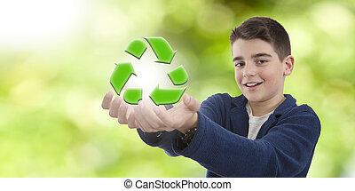 criança, com, a, símbolo, de, reciclagem, e, meio ambiente