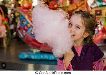 criança, com, doce algodão