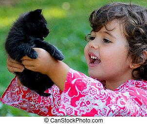 criança, com, gato