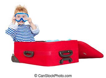 criança, com, mergulhando máscara, vela, em, mala