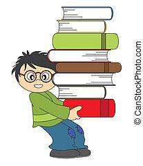 criança, com, muito, de, livros