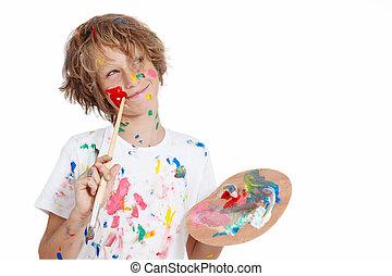 criança, com, pintar escova, planificação, travessura