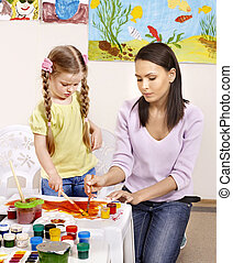 criança, com, professor, painting.