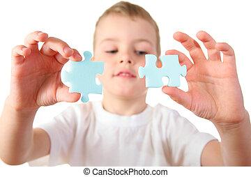 criança, com, quebra-cabeça