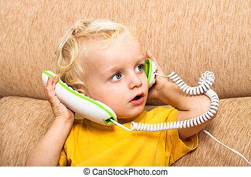 criança, com, telefone
