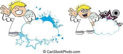criança, copysapce8, anjo, caricatura