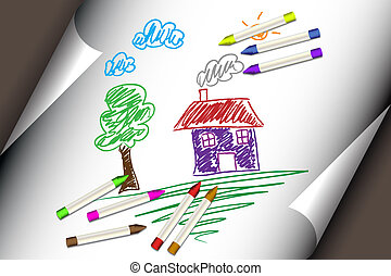 criança, crianças, desenho, de, um, casa, ou, lar