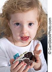 criança, cupcake
