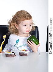 criança, cupcake, páprica