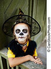 criança, de, dia das bruxas