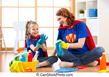 criança, dela, mãe, lavagem fornece, lar, menina