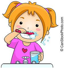 criança, dentes escovando