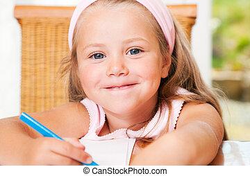 criança, desenho, algo, casa