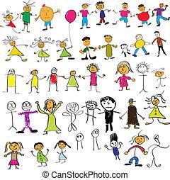 criança, desenhos, semelhante