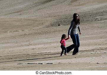 criança, deserto, mãe