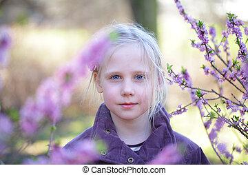 criança, -, despreocupado, ao ar livre, menina, infancia, feliz