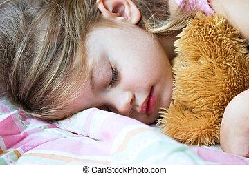 criança, dormir, pelúcia
