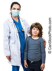 criança, doutor mulher, menino