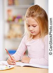 criança, drawing., ocupado, pequeno