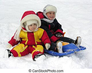 criança, e, baby., inverno