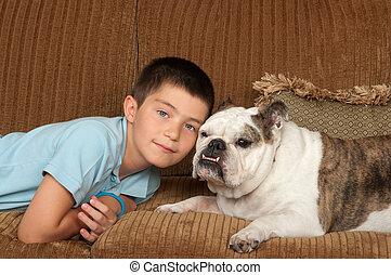 criança, e, cão