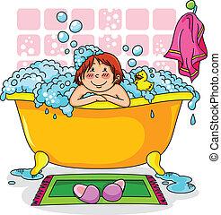 criança, em, a, banho