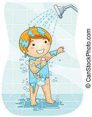 criança, em, a, chuveiro