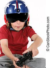 criança, em, capacete, tocando, um, simulador vôo