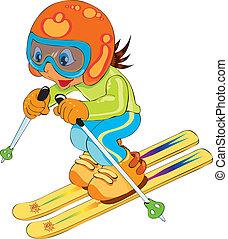 criança, em, esqui