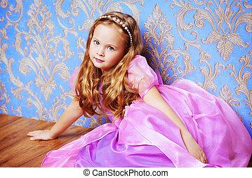 criança, em, luxuoso, vestido