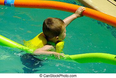 criança, em, piscina