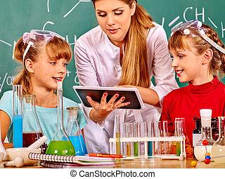 criança, em, química, class.