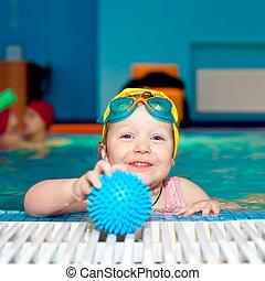 criança, em, um, piscina
