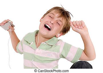 criança, entalhando, para, música