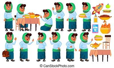criança, escola, jogo, vector., escola, muçulmano, primário, ilustração, isolado, schoolkid., árabe, ensinando, eduque, menina, poses, caricatura, child., design.