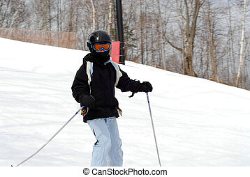 criança, esqui, declive