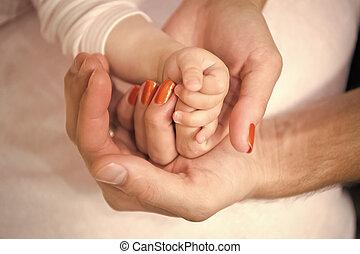 criança, família, mãos, pai, mãe