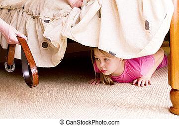 criança, family., violência, bed., couros, sob