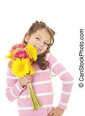 criança, flores, grupo