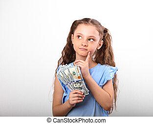 criança, fundo, menina, espaço, pensando, dinheiro, ricos, cima, mão, olhar, segurando, branca, cópia, sorrindo, vazio, feliz