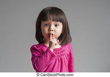 criança, gesticule, quieto, mantenha