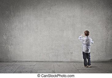criança, girado, costas